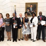 Pictured (left to right): Chris Masingill of Delta Regional Authority, Lane Riley of Shaw, Shellie Michael of Jackson, Dr. Rolando Herts of Delta State University, Joshua Bower of Jackson, Amanda Allen of Clarksdale, Tracy Ausberry of Clarksdale, Jessie Whitley of Greenville, and Mike Marshall of Delta Regional Authority.
