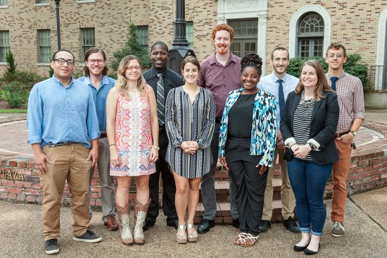 The inaugural fellows of the Teach for America Graduate Fellows Program at Delta State include: (front row, left to right) Javier Peraza, Sarah Hawley, Jena Howie, Kandace Lewis, MacKenzie Stroh Hines, (back, l to r) Matty Bengloff, James Forte, Jon Delperdang, Boyce Upholt and Jeremiah Smith.