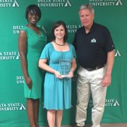 Dr. Vernell Bennett, vice president of Student Affairs (left to right), Emily Ballard, president of DeSoto County Alumni Chapter and President William N. LaForge.