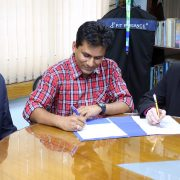 Dr. Md. Fokhray Hossain (left to right), director of International Affairs at Daffodil International University in Bangladesh, Dr. A.H.M. Ali Reza, assistant professor of biology at Delta State and the university's international partnership liaison, and Dr. Fazlul Haque, Registrar at DIU, recently signed a memorandum of understanding to begin developing international exchanges between the two universities.
