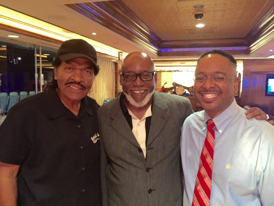 Dr. Rolando Herts (right) presented at the Jus' Blues Music Foundation's conference with CEO and founder Charles Mitchell (center) and GRAMMY-nominated blues legend Bobby Rush.