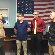 From Left to Right: Major Michael Lorino (USMC) with DSU students and Marine Corps Reservists Warren Rybczynski, Cody Callender, and Tanner Overcash.