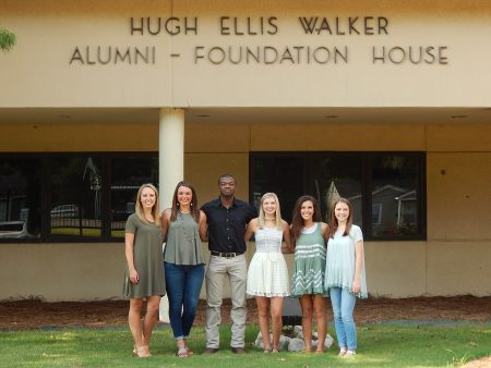 2016-17 members of the Student Alumni Association include (left to right):  Hannah Goudy, Dana Rico, Artis Love, Brittany Earls, Leah Green and Rebecca Hudson.