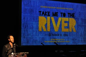 "Martin Shore introduces his film ""Take Me to the River."""