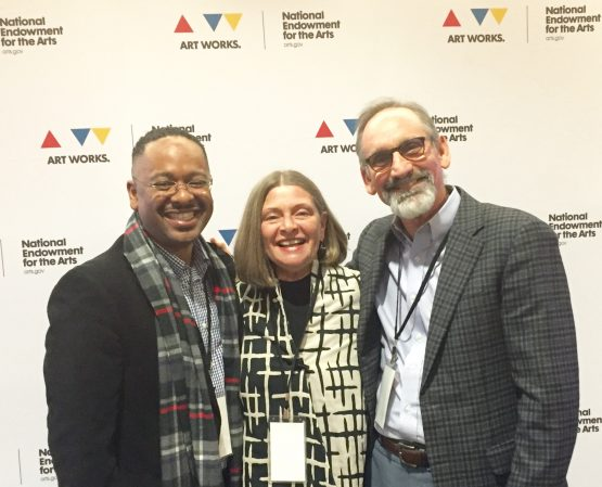 "Dr. Rolando Herts (left to right) with Susie Surkamer, executive director of South Arts, and Malcolm White, executive director of the Mississippi Arts Commission, at ""The Future of Arts and Creativity"" convening in Washington, D.C."