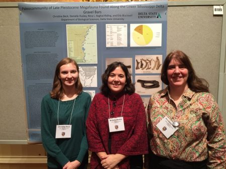 Students Christine Beck (left to right), Danielle Husley and professor Dr. Nina Baghai-Riding, recently presented at the Society of Vertebrate Paleontology Conference in Salt Lake City, Utah.