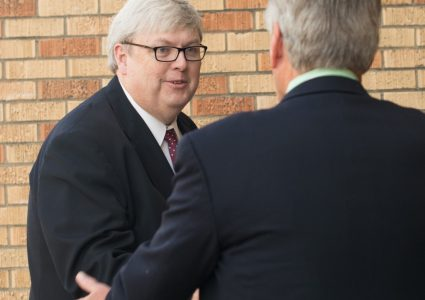 Dr. Joe Bentley greeting President LaForge at the grand opening.
