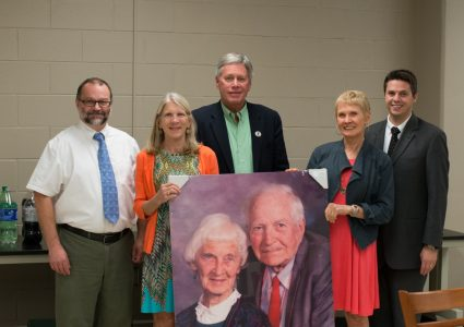 From left to right: Dr. James Gerald, physics professor; Julie Mosow, Wiley daughter; President LaForge, Delta State University; Jean Lynch, Wiley daughter; Dr. Adam Johanson, Planetarium Director