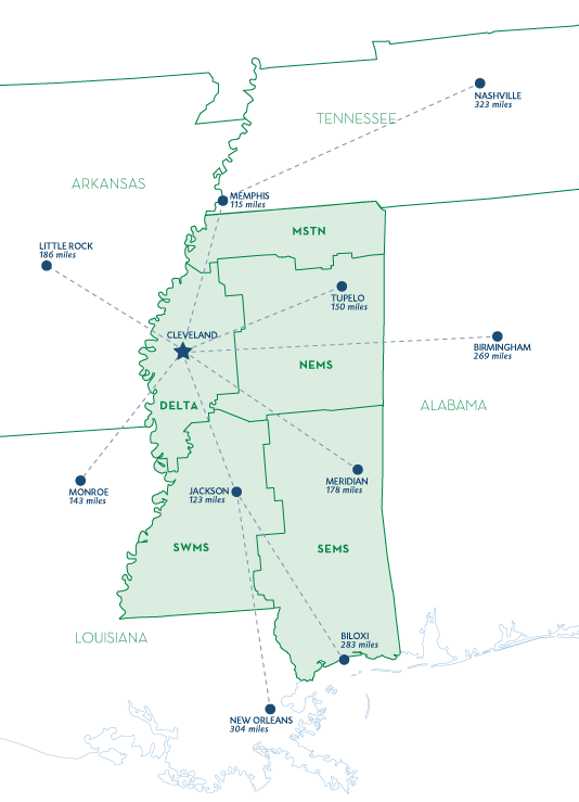 Mississippi Region Map