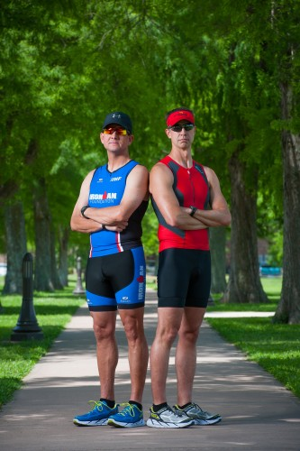 Delta State University employees Doug Pinkerton, left, and Chris Giger will compete in the May 16 Ironman triathlon outside Houston, Texas.