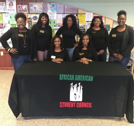 Members of the Delta State University African American Student Council include: (front row, left to right) Aja Buckhalter, Selena Trotter, (back, l to r) Ashley Blackburn, Letia McGee, Symmbol Sanderlin, Veronica Suggs and Alandria Ramsey.